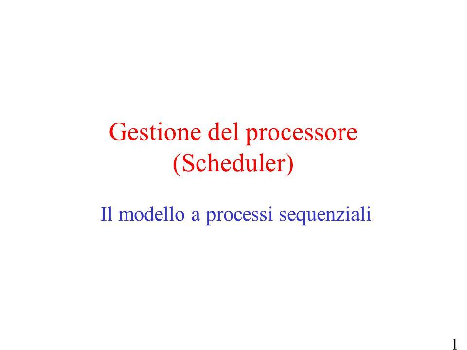 1 Gestione del processore (Scheduler) Il modello a processi sequenziali