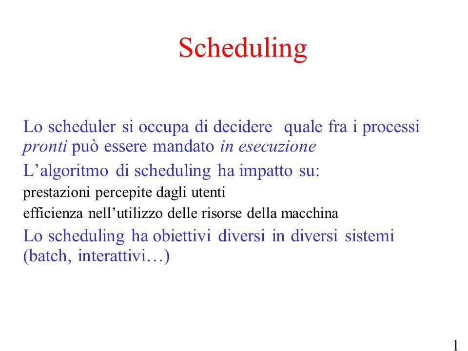 12 Scheduling Lo scheduler si occupa di decidere quale fra i processi pronti può essere mandato in esecuzione L'algoritmo di scheduling ha impatto su: