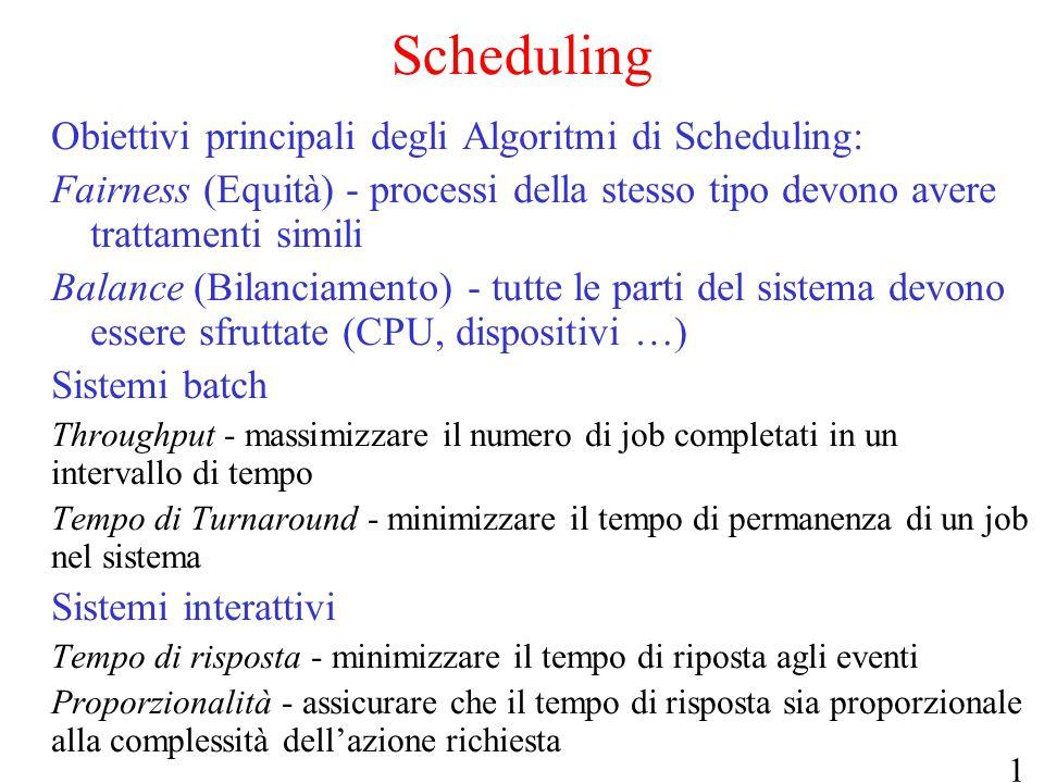13 Scheduling Obiettivi principali degli Algoritmi di Scheduling: Fairness (Equità) - processi della stesso tipo devono avere trattamenti simili Balan