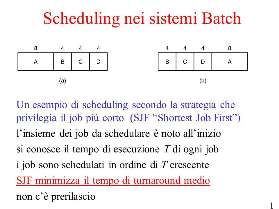 """16 Scheduling nei sistemi Batch Un esempio di scheduling secondo la strategia che privilegia il job più corto (SJF """"Shortest Job First"""") l'insieme dei"""