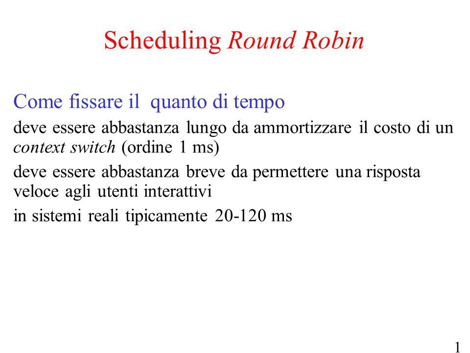 18 Scheduling Round Robin Come fissare il quanto di tempo deve essere abbastanza lungo da ammortizzare il costo di un context switch (ordine 1 ms) dev