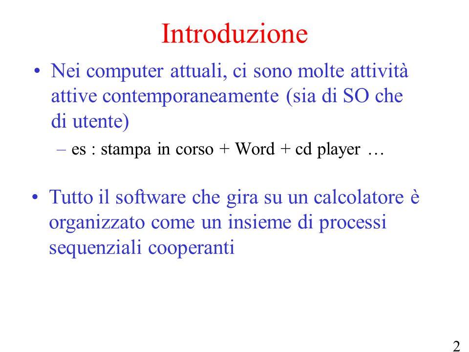 2 Introduzione Nei computer attuali, ci sono molte attività attive contemporaneamente (sia di SO che di utente) –es : stampa in corso + Word + cd play