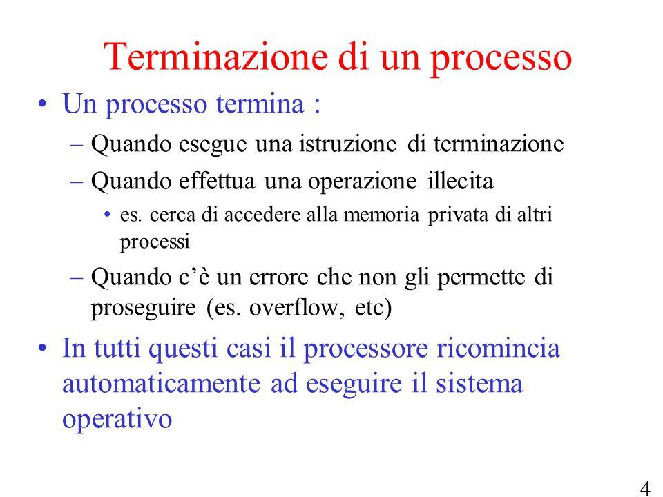 4 Terminazione di un processo Un processo termina : –Quando esegue una istruzione di terminazione –Quando effettua una operazione illecita es. cerca d