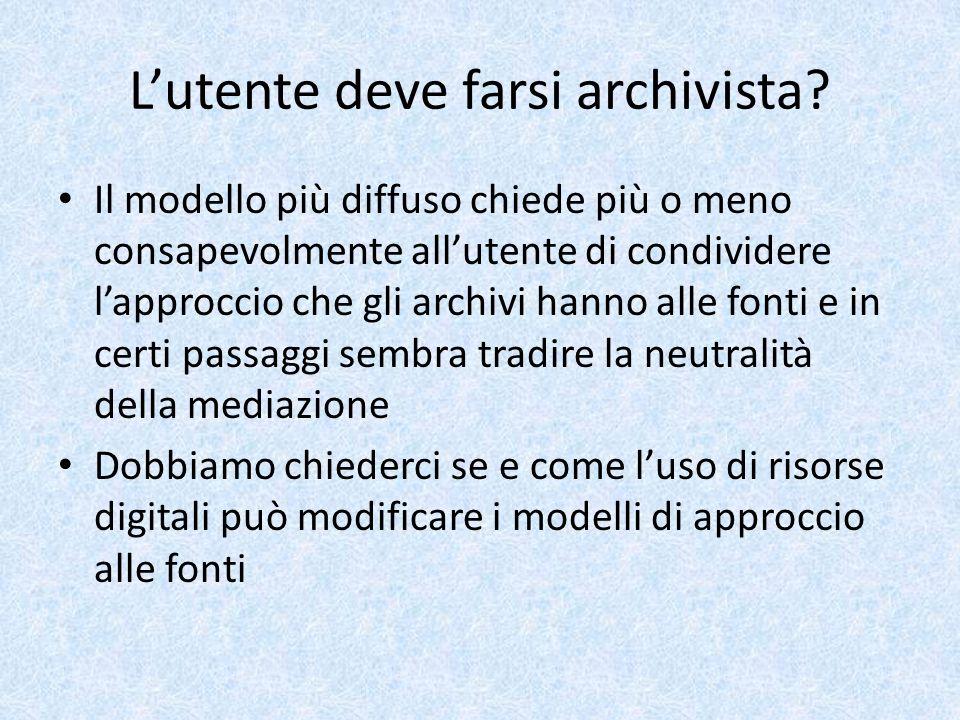 Alcuni esempi SIUSA http://siusa.archivi.beniculturali.it/ SIUSA SIAS http://www.archivi-sias.it/ SIAS SIASFI http://www.archiviodistato.firenze.it/siasfi/ SIASFI http://www.archiviodistato.firenze.it/siasfi/ PLAIN http://plain.unipv.it/plain/index.php?page=view _progetto&pkidprogetto=ASPR000079