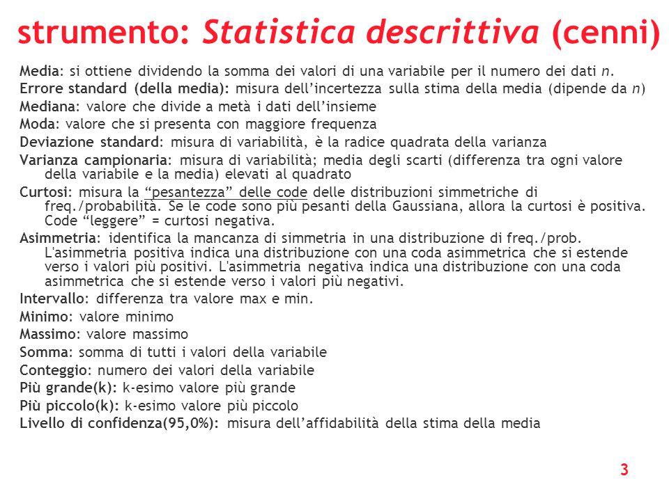3 strumento: Statistica descrittiva (cenni) Media: si ottiene dividendo la somma dei valori di una variabile per il numero dei dati n. Errore standard