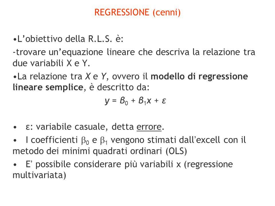 REGRESSIONE (cenni) L'obiettivo della R.L.S. è: -trovare un'equazione lineare che descriva la relazione tra due variabili X e Y. La relazione tra X e