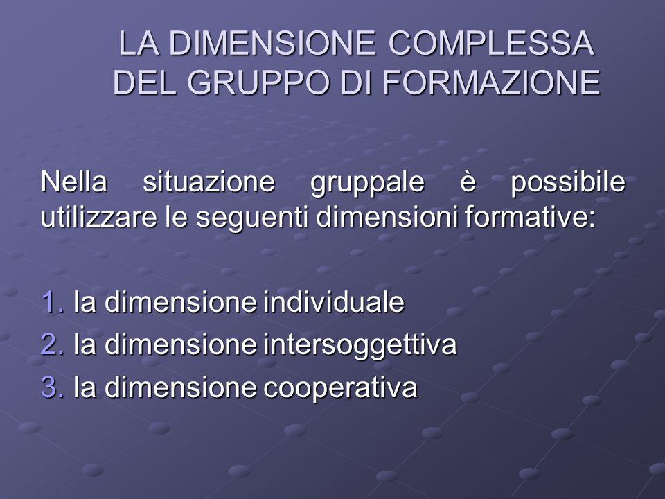 LA DIMENSIONE COMPLESSA DEL GRUPPO DI FORMAZIONE Nella situazione gruppale è possibile utilizzare le seguenti dimensioni formative: 1. la dimensione i