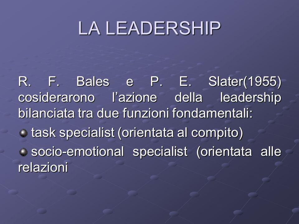 LA LEADERSHIP R. F. Bales e P. E. Slater(1955) cosiderarono l'azione della leadership bilanciata tra due funzioni fondamentali: task specialist (orien