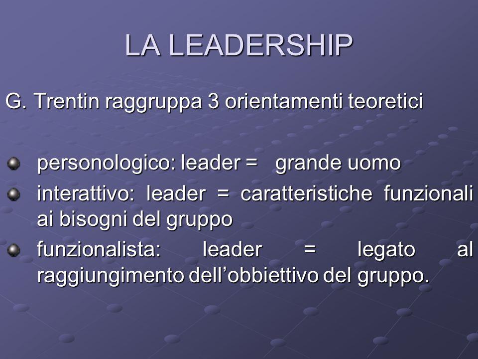 LA LEADERSHIP G. Trentin raggruppa 3 orientamenti teoretici personologico: leader = grande uomo interattivo: leader = caratteristiche funzionali ai bi