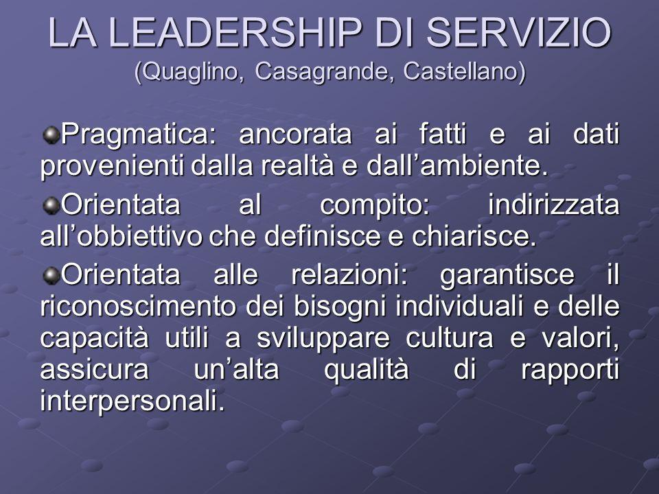 LA LEADERSHIP DI SERVIZIO (Quaglino, Casagrande, Castellano) Pragmatica: ancorata ai fatti e ai dati provenienti dalla realtà e dall'ambiente. Orienta