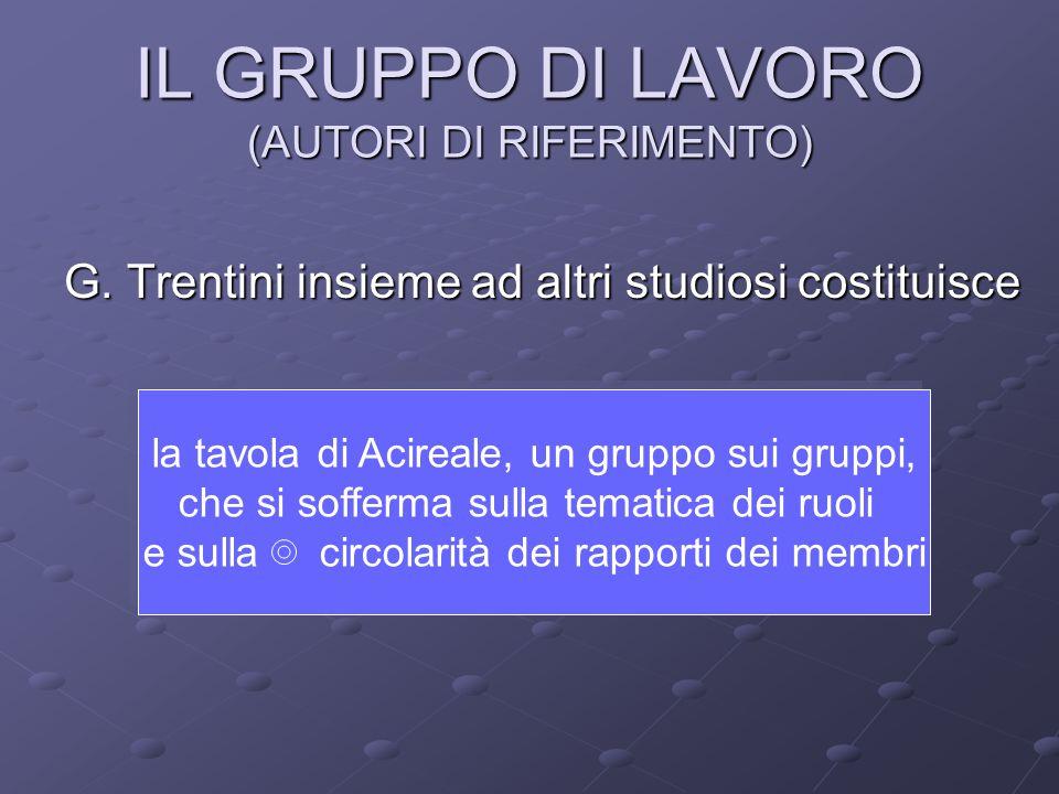 IL GRUPPO DI LAVORO (AUTORI DI RIFERIMENTO) G. Trentini insieme ad altri studiosi costituisce la tavola di Acireale, un gruppo sui gruppi, che si soff