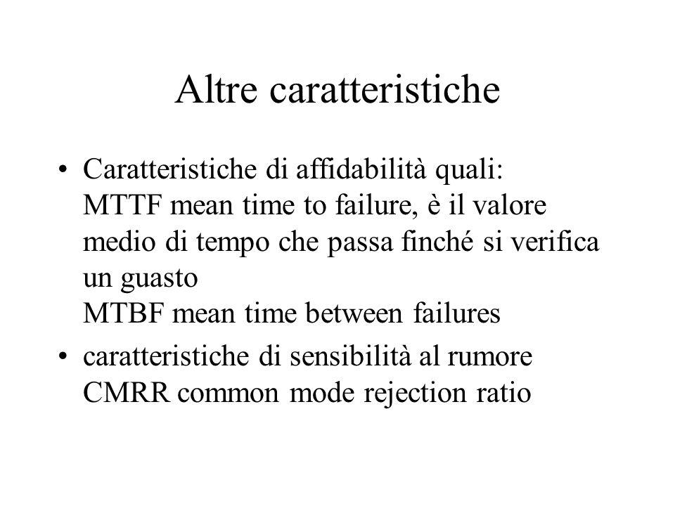 Altre caratteristiche Caratteristiche di affidabilità quali: MTTF mean time to failure, è il valore medio di tempo che passa finché si verifica un gua