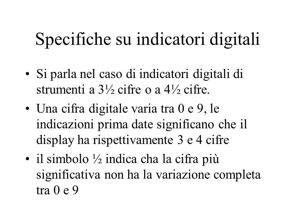 Specifiche su indicatori digitali Si parla nel caso di indicatori digitali di strumenti a 3½ cifre o a 4½ cifre. Una cifra digitale varia tra 0 e 9, l