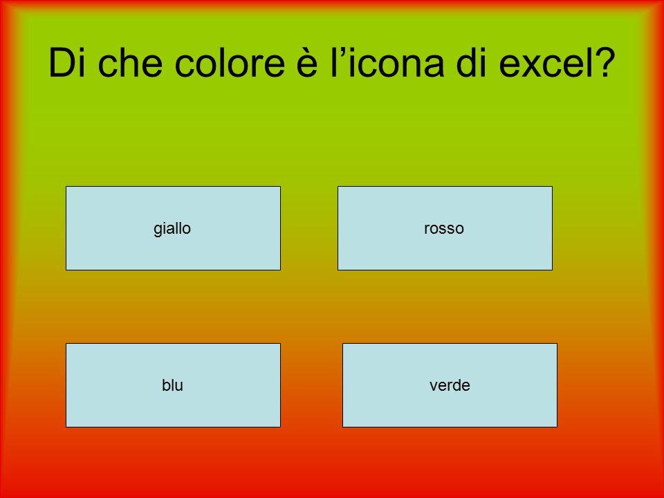 Di che colore è l'icona di excel? giallorosso verdeblu