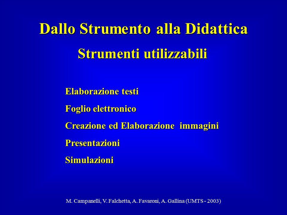 M. Campanelli, V. Falchetta, A. Favaroni, A. Gallina (UMTS - 2003) Dallo Strumento alla Didattica Elaborazione testi Foglio elettronico Creazione ed E