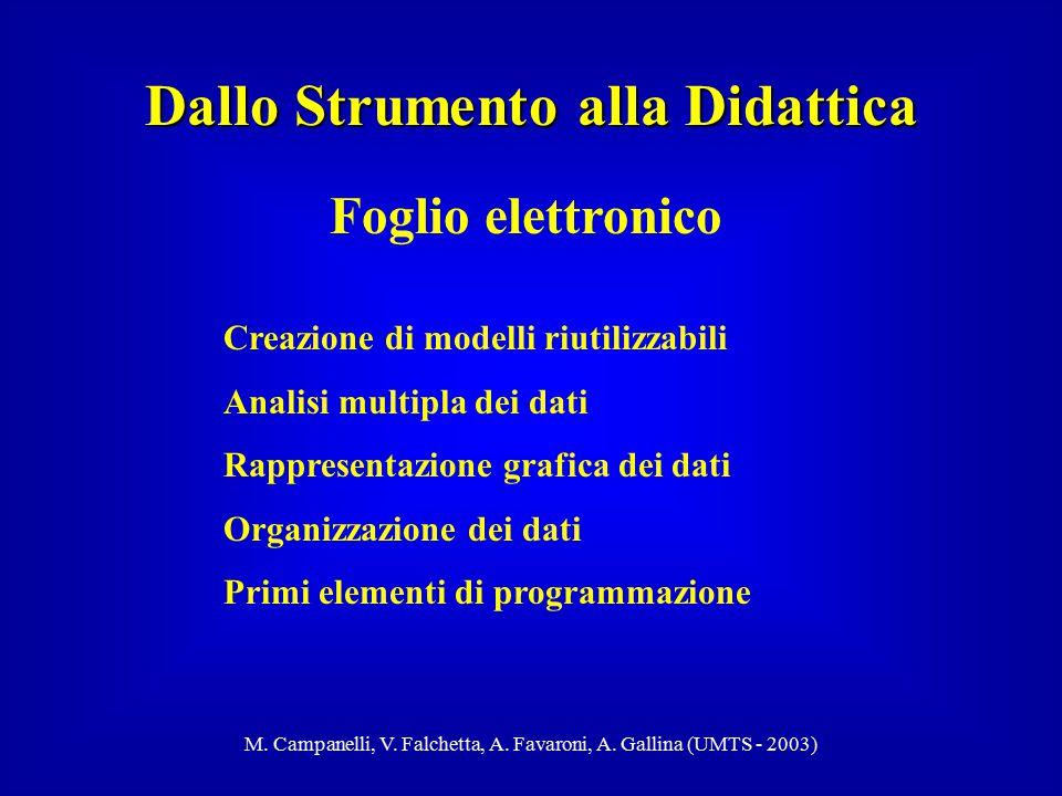 M. Campanelli, V. Falchetta, A. Favaroni, A. Gallina (UMTS - 2003) Dallo Strumento alla Didattica Foglio elettronico Creazione di modelli riutilizzabi
