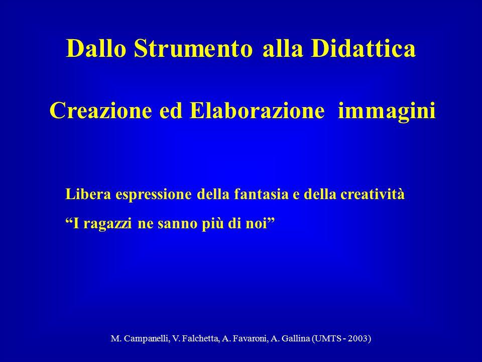 M. Campanelli, V. Falchetta, A. Favaroni, A. Gallina (UMTS - 2003) Creazione ed Elaborazione immagini Dallo Strumento alla Didattica Libera espression
