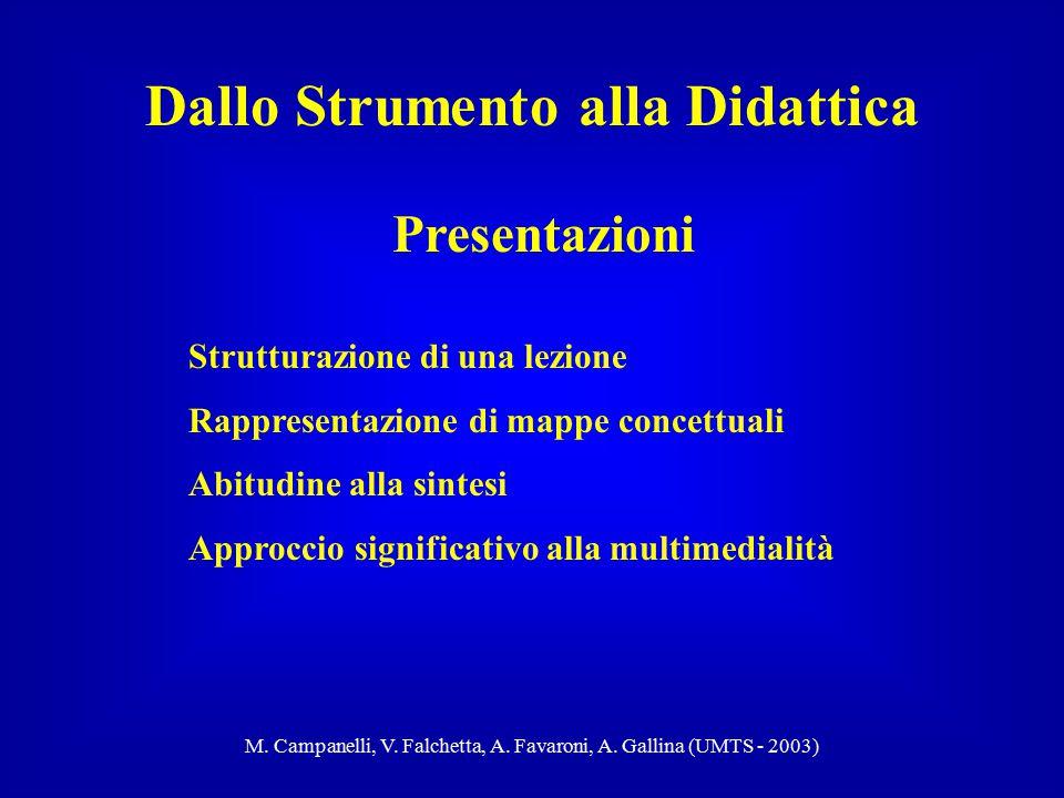 M. Campanelli, V. Falchetta, A. Favaroni, A. Gallina (UMTS - 2003) Presentazioni Dallo Strumento alla Didattica Strutturazione di una lezione Rapprese