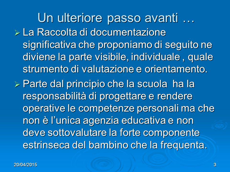 20/04/20153 Un ulteriore passo avanti …  La Raccolta di documentazione significativa che proponiamo di seguito ne diviene la parte visibile, individuale, quale strumento di valutazione e orientamento.