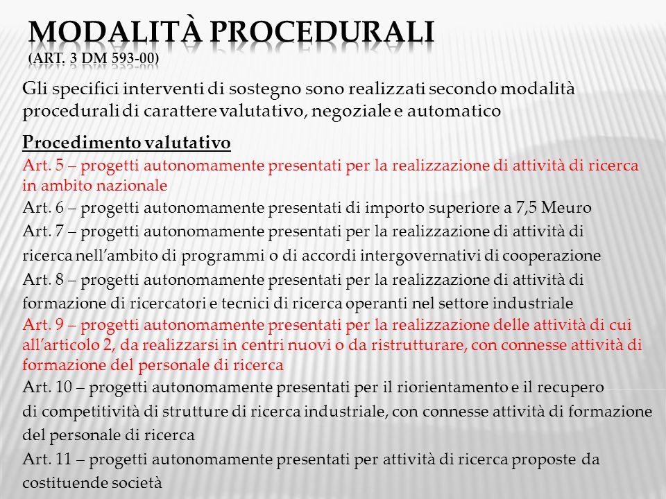 Gli specifici interventi di sostegno sono realizzati secondo modalità procedurali di carattere valutativo, negoziale e automatico Procedimento valutativo Art.