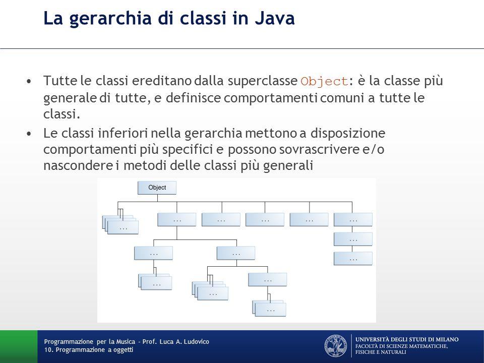 La gerarchia di classi in Java Tutte le classi ereditano dalla superclasse Object : è la classe più generale di tutte, e definisce comportamenti comuni a tutte le classi.