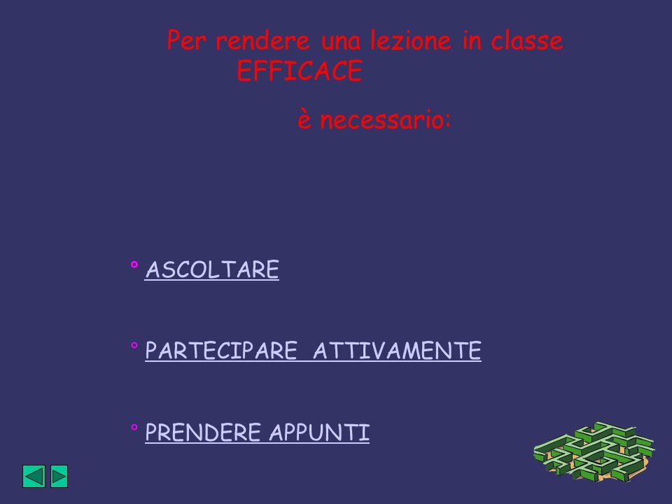 Per rendere una lezione in classe EFFICACE è necessario: ° ASCOLTARE ° PARTECIPARE ATTIVAMENTE ° PRENDERE APPUNTI
