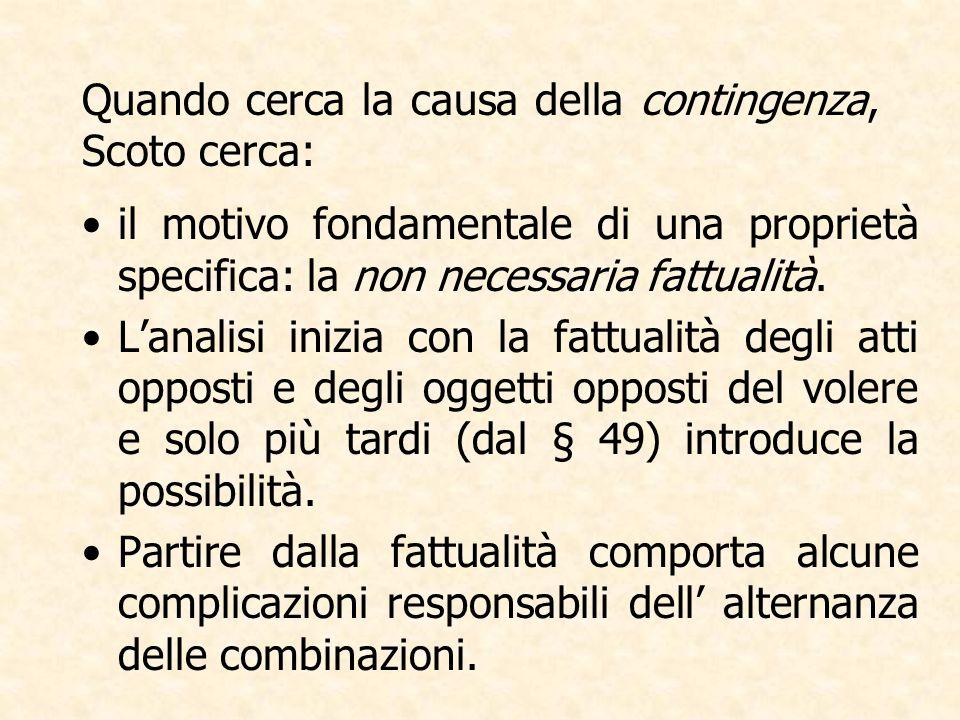 Quando cerca la causa della contingenza, Scoto cerca: il motivo fondamentale di una proprietà specifica: la non necessaria fattualità.