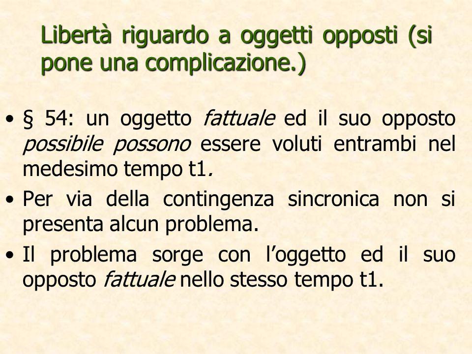 Libertà riguardo a oggetti opposti (si pone una complicazione.) § 54: un oggetto fattuale ed il suo opposto possibile possono essere voluti entrambi nel medesimo tempo t1.
