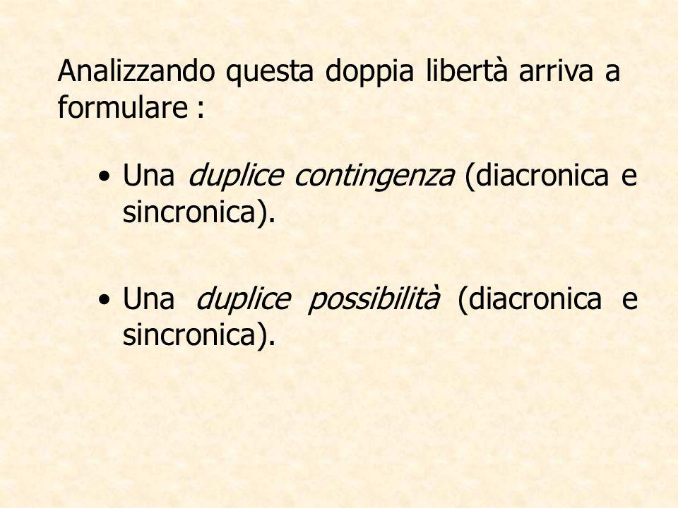 Analizzando questa doppia libertà arriva a formulare : Una duplice contingenza (diacronica e sincronica). Una duplice possibilità (diacronica e sincro