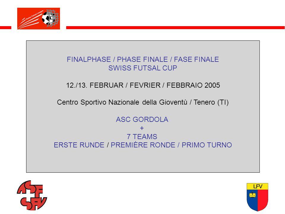 FINALPHASE / PHASE FINALE / FASE FINALE SWISS FUTSAL CUP 12./13. FEBRUAR / FEVRIER / FEBBRAIO 2005 Centro Sportivo Nazionale della Gioventù / Tenero (