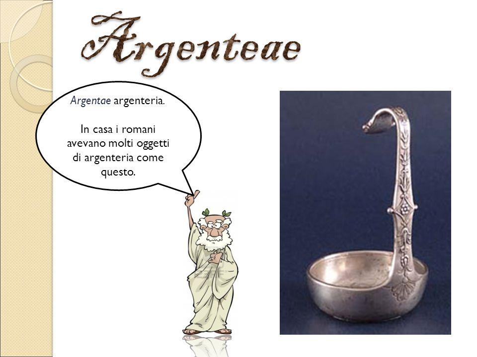 Argentae argenteria. In casa i romani avevano molti oggetti di argenteria come questo.