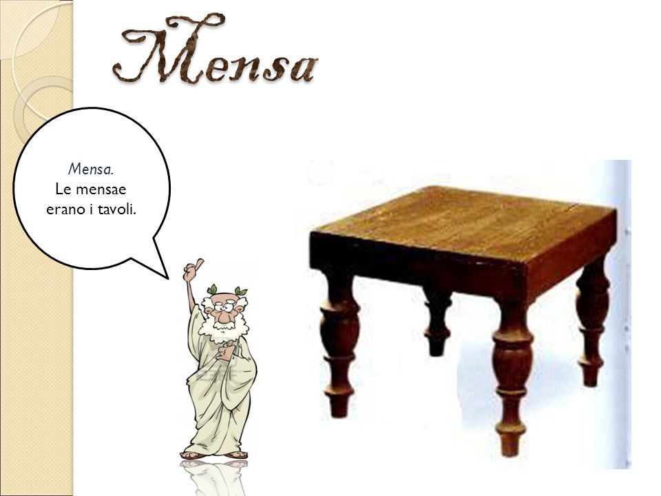 Mensa. Le mensae erano i tavoli.
