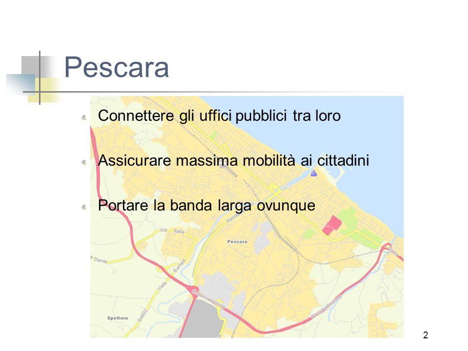 2 Pescara Connettere gli uffici pubblici tra loro Assicurare massima mobilità ai cittadini Portare la banda larga ovunque