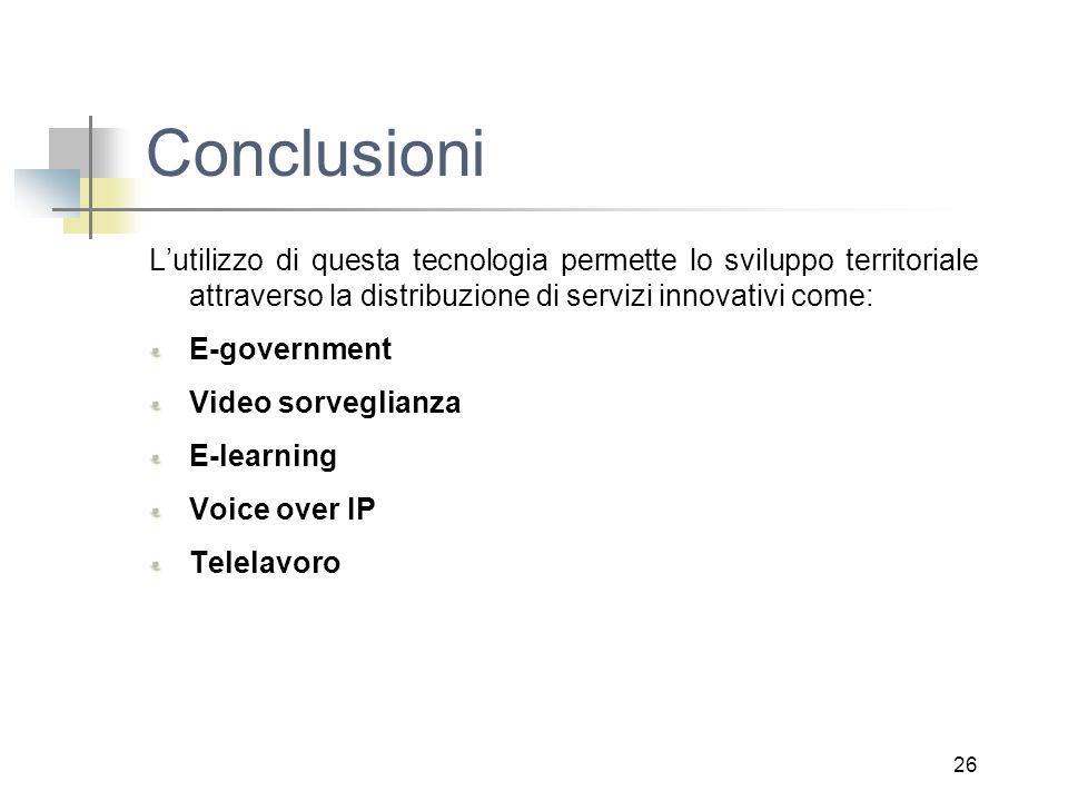 26 Conclusioni L'utilizzo di questa tecnologia permette lo sviluppo territoriale attraverso la distribuzione di servizi innovativi come: E-government Video sorveglianza E-learning Voice over IP Telelavoro