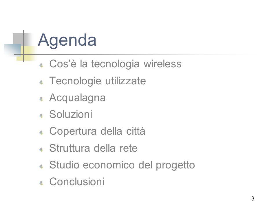 3 Agenda Cos'è la tecnologia wireless Tecnologie utilizzate Acqualagna Soluzioni Copertura della città Struttura della rete Studio economico del progetto Conclusioni