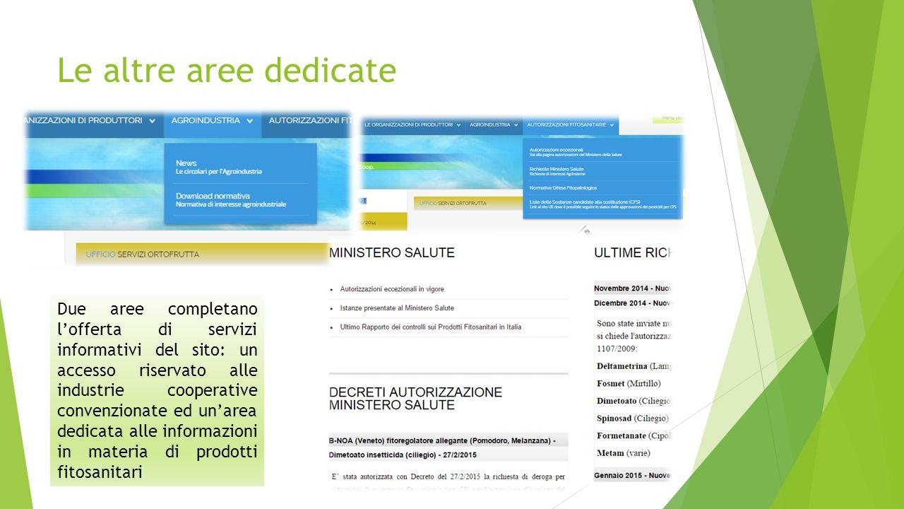 Le altre aree dedicate Due aree completano l'offerta di servizi informativi del sito: un accesso riservato alle industrie cooperative convenzionate ed un'area dedicata alle informazioni in materia di prodotti fitosanitari