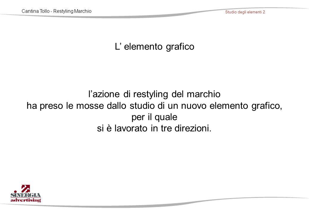 Cantina Tollo - Restyling Marchio Studio degli elementi 2 L' elemento grafico l'azione di restyling del marchio ha preso le mosse dallo studio di un nuovo elemento grafico, per il quale si è lavorato in tre direzioni.
