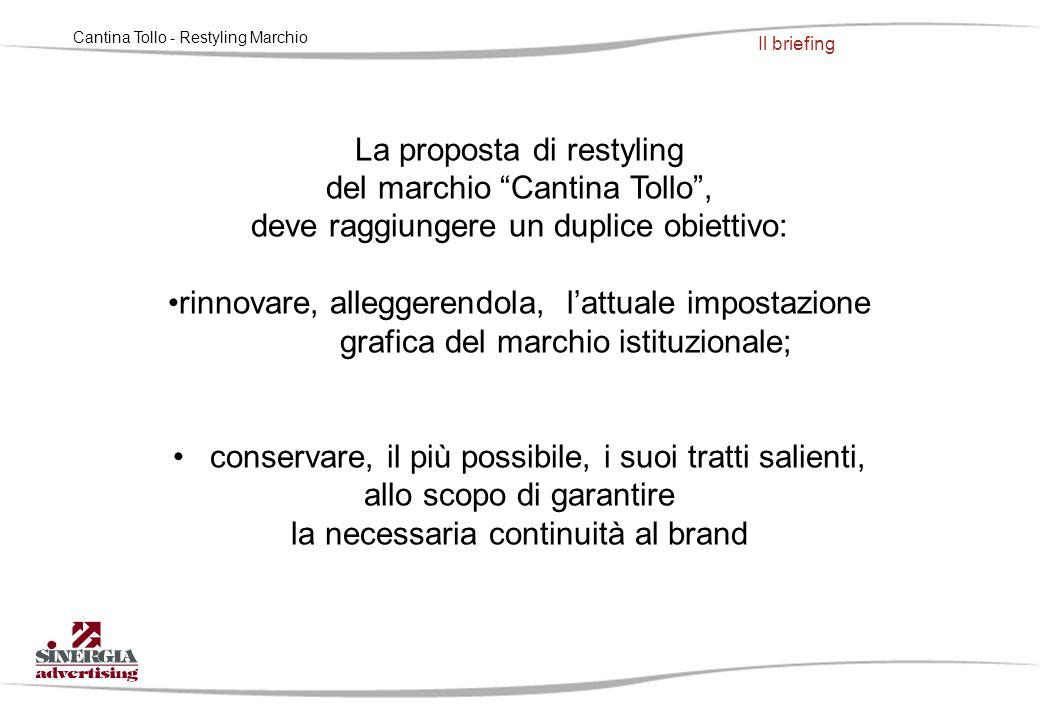 """La proposta di restyling del marchio """"Cantina Tollo"""", deve raggiungere un duplice obiettivo: rinnovare, alleggerendola, l'attuale impostazione grafica"""