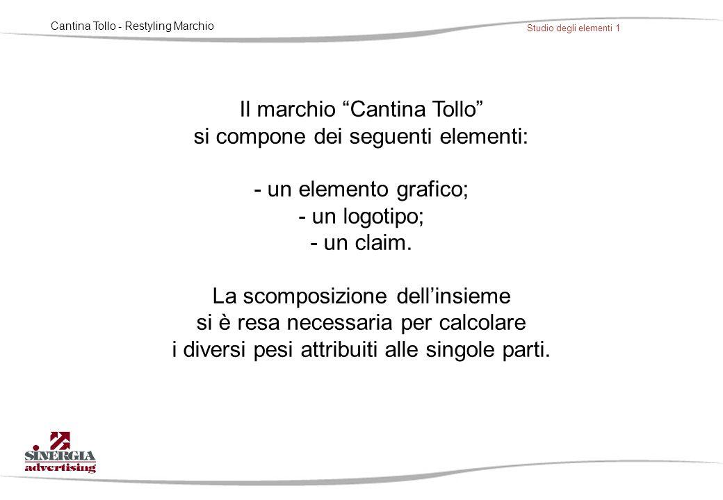 """Cantina Tollo - Restyling Marchio Studio degli elementi 1 Il marchio """"Cantina Tollo"""" si compone dei seguenti elementi: - un elemento grafico; - un log"""