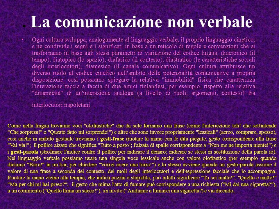 . La comunicazione non verbale Ogni cultura sviluppa, analogamente al linguaggio verbale, il proprio linguaggio cinetico, e ne condivide i segni e i s