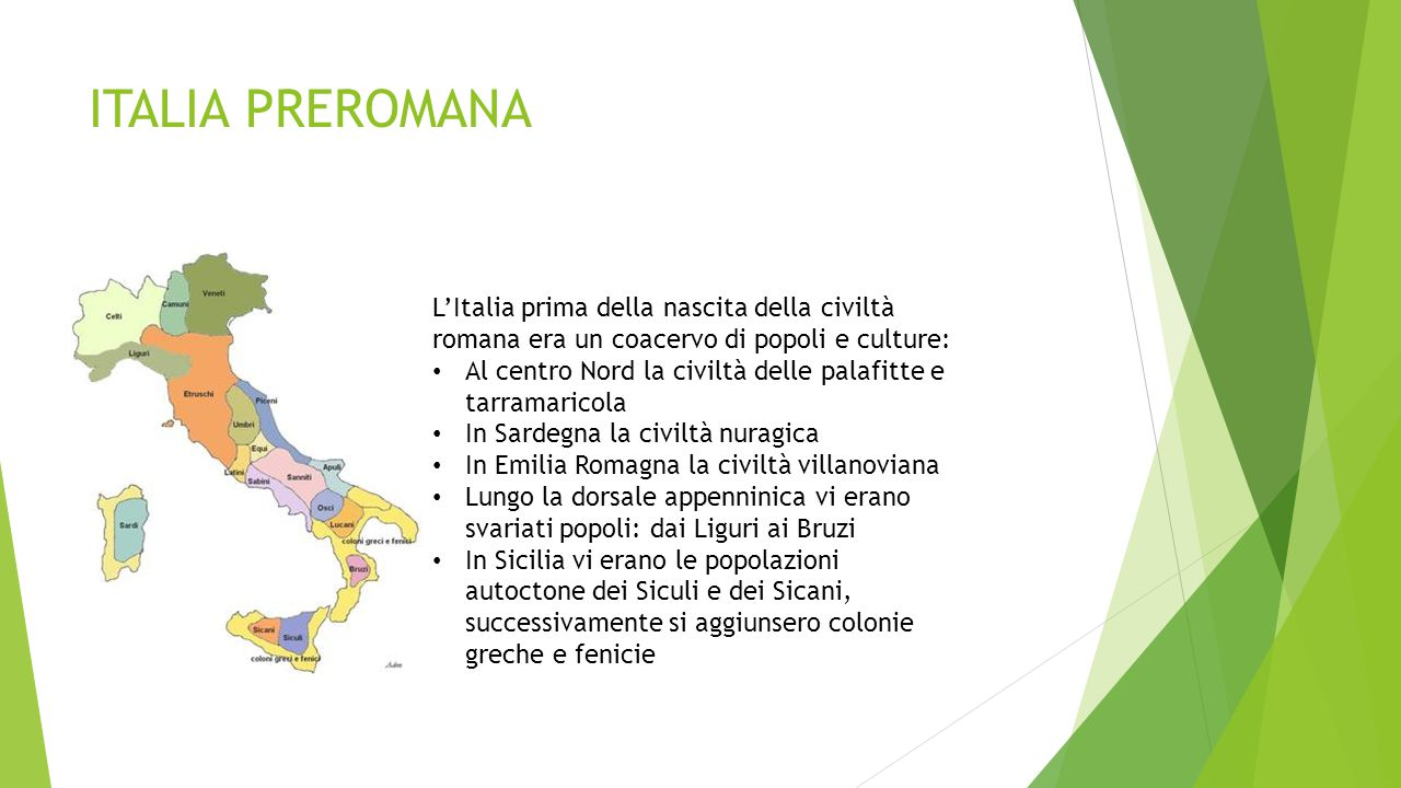 ITALIA PREROMANA L'Italia prima della nascita della civiltà romana era un coacervo di popoli e culture: Al centro Nord la civiltà delle palafitte e ta