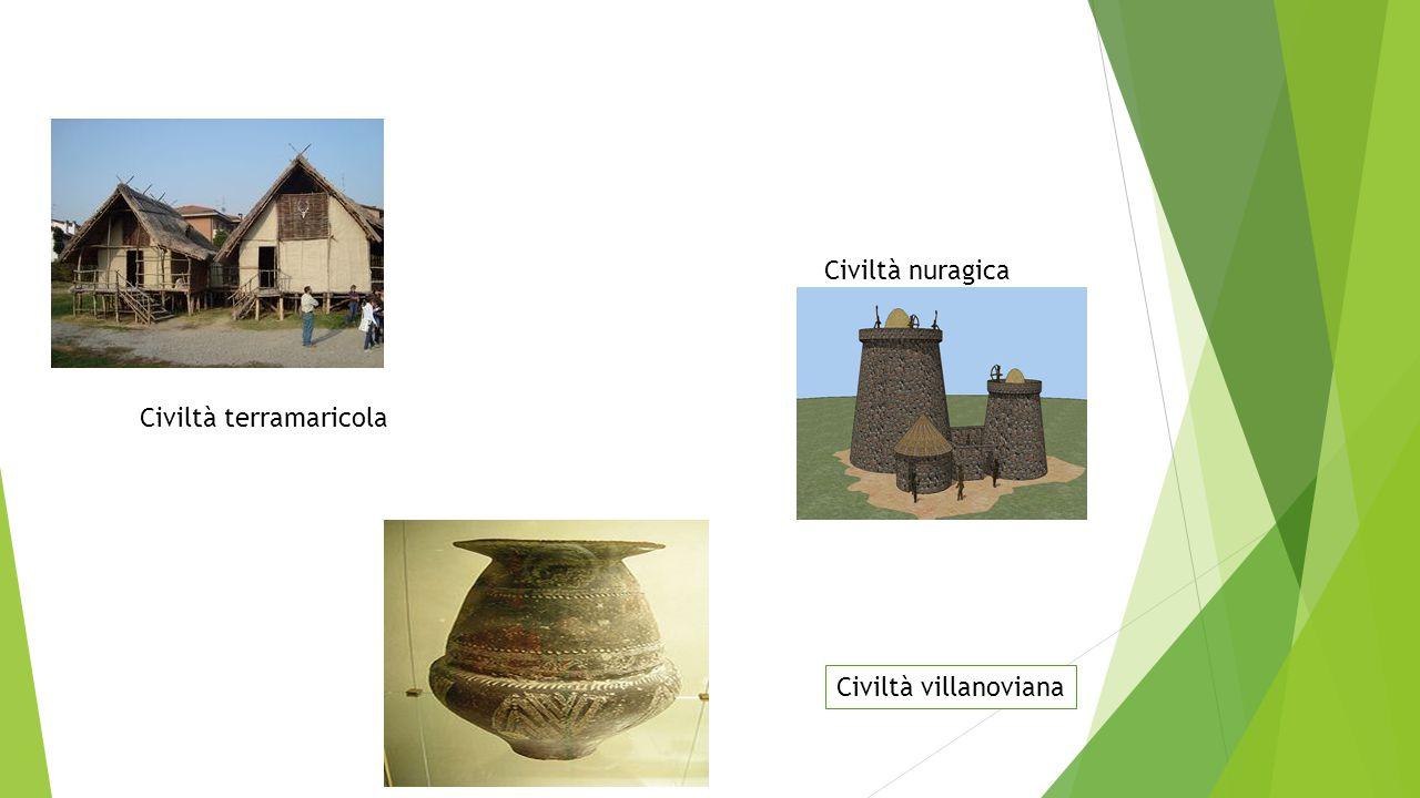 Civiltà terramaricola Civiltà nuragica Civiltà villanoviana