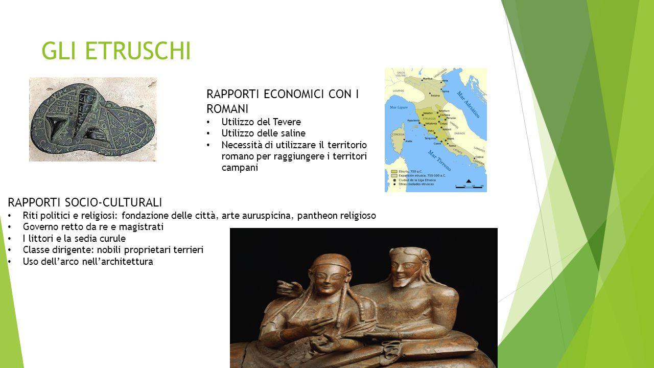 GLI ETRUSCHI RAPPORTI ECONOMICI CON I ROMANI Utilizzo del Tevere Utilizzo delle saline Necessità di utilizzare il territorio romano per raggiungere i