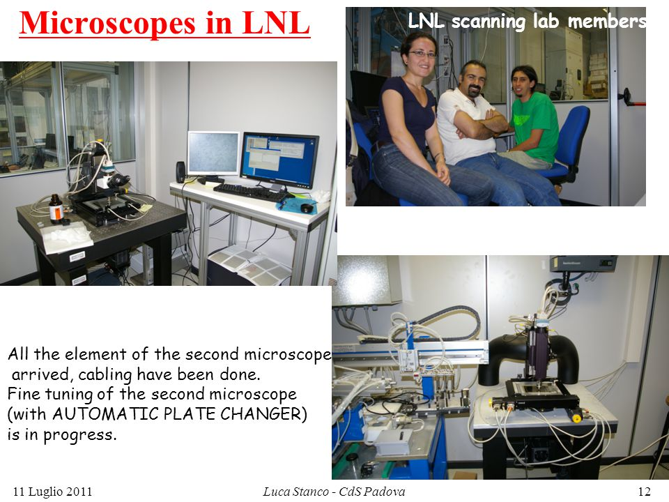 Microscopes in LNL 11 Luglio 2011Luca Stanco - CdS Padova12 LNL scanning lab members All the element of the second microscope arrived, cabling have been done.
