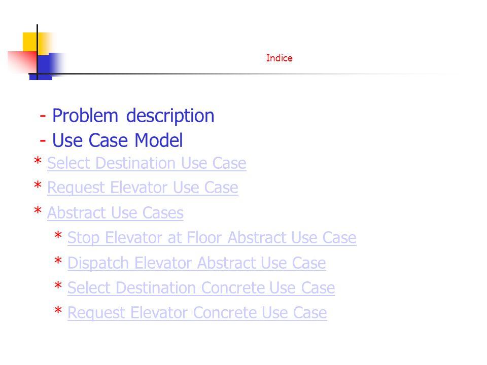 Use Case Model: Request Elevator Concrete Use Case Attori: Elevator User Precondizione: L'utente è a un piano, vuole un ascensore Descrizione: 1.