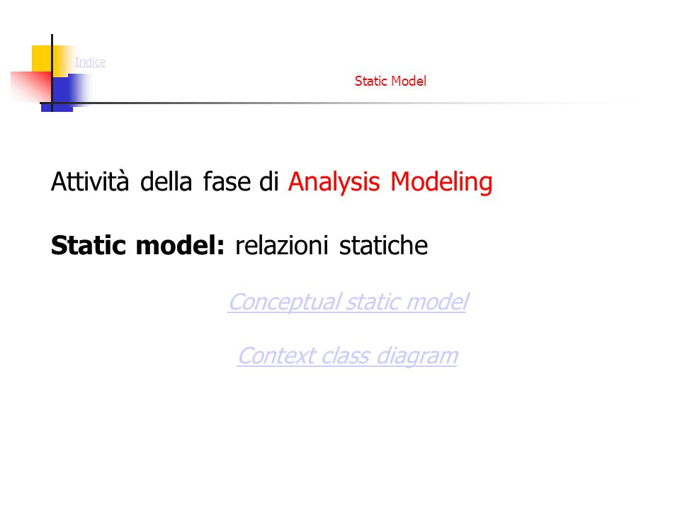 Static Model Attività della fase di Analysis Modeling Static model: relazioni statiche Conceptual static model Context class diagram Indice