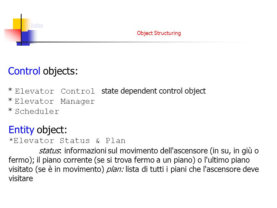 Object Structuring Control objects: * Elevator Control state dependent control object * Elevator Manager * Scheduler Entity object: *Elevator Status &