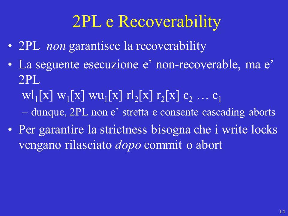 14 2PL e Recoverability 2PL non garantisce la recoverability La seguente esecuzione e' non-recoverable, ma e' 2PL wl 1 [x] w 1 [x] wu 1 [x] rl 2 [x] r 2 [x] c 2 … c 1 –dunque, 2PL non e' stretta e consente cascading aborts Per garantire la strictness bisogna che i write locks vengano rilasciato dopo commit o abort