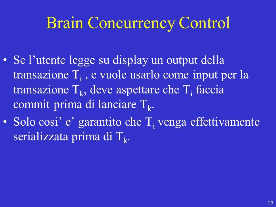 15 Brain Concurrency Control Se l'utente legge su display un output della transazione T i, e vuole usarlo come input per la transazione T k, deve aspettare che T i faccia commit prima di lanciare T k.