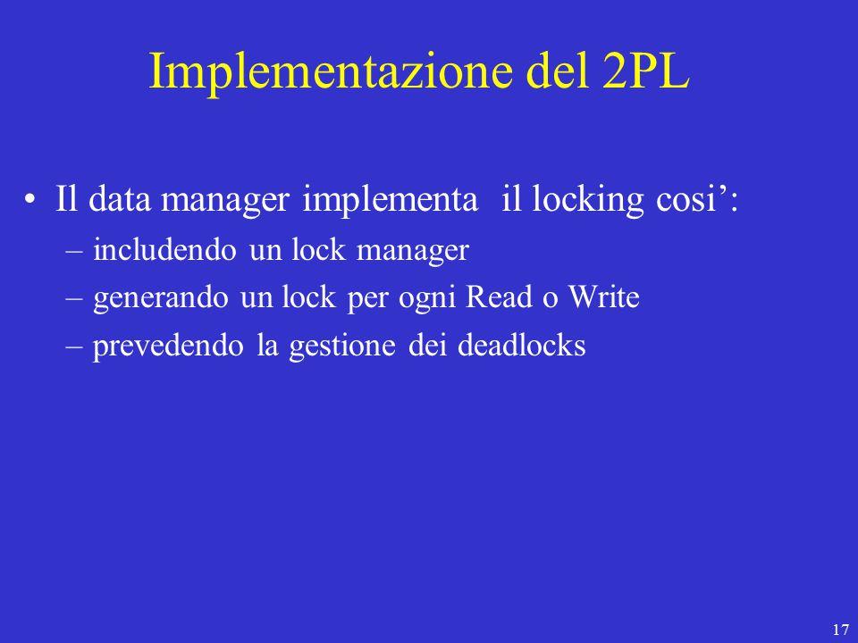 17 Implementazione del 2PL Il data manager implementa il locking cosi': –includendo un lock manager –generando un lock per ogni Read o Write –prevedendo la gestione dei deadlocks